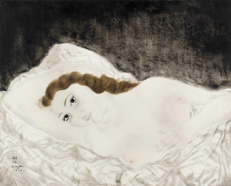 Léonard Tsuguharu Foujita (1886-1968) Femme allongée, Youki. Estimation: £500,000 - 700,000.